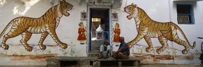 Two Mature Men Sitting in Front of a Door of a Building, Udaipur, Rajasthan, India
