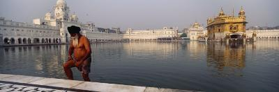 Senior Man Coming Out of a Pond, Golden Temple, Amritsar, Punjab, India