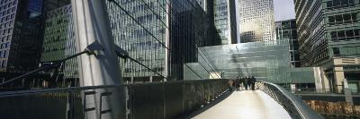 Bridge in Front of Buildings, Canary Wharf, London, England