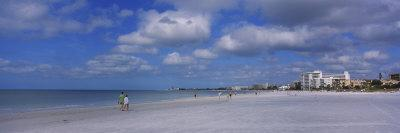 Tourists Walking on the Beach, Crescent Beach, Gulf of Mexico, Siesta Key, Florida, USA