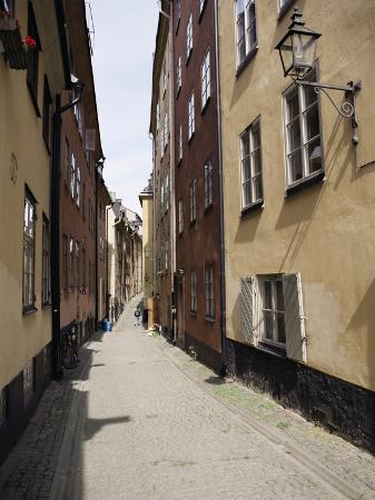 Narrow Street in Gamla Stan, Old Town, Stockholm, Sweden, Scandinavia
