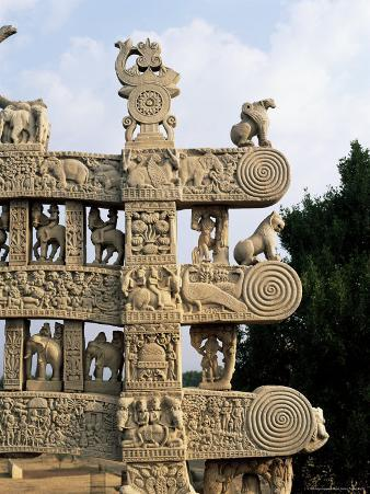 Inside Face of the North Gateway, the Great Stupa, Sanchi, Madhya Pradesh, India