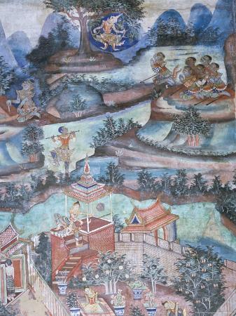 18th Century Murals Inside Lai Kham Viharn, Wat Phra Singh Temple Complex, Chiang Mai, Thailand