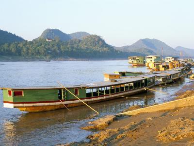 Looking North up the Mekong River, Boats Moored at Luang Prabang, Laos, Indochina