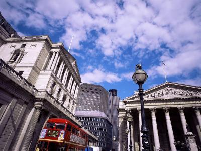 Bank of England and the Royal Exchange, City of London, London, England, United Kingdom