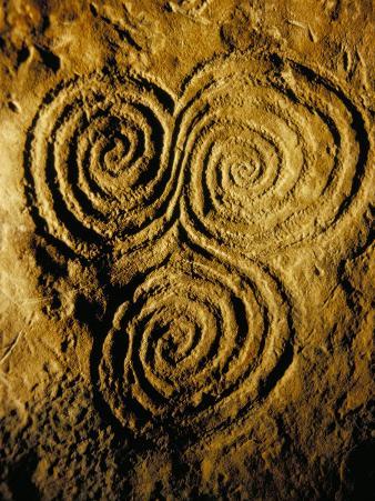 Carvings on Stone, New Grange (Newgrange) Site, County Meath, Leinster, Eire (Ireland)