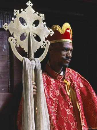 Portrait of a Man Holding a Christian Symbol, Bieta Golgotha, Lalibela, Wollo Region, Ethiopia