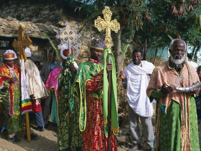 Procession of Christian Men and Crosses, Rameaux Festival, Axoum, Tigre Region, Ethiopia