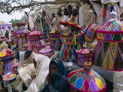 Basket-Work Market, Axoum (Axum) (Aksum), Tigre Region, Ethiopia, Africa