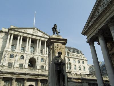 The Bank of England and the Royal Exchange, City of London, London, England, United Kingdom