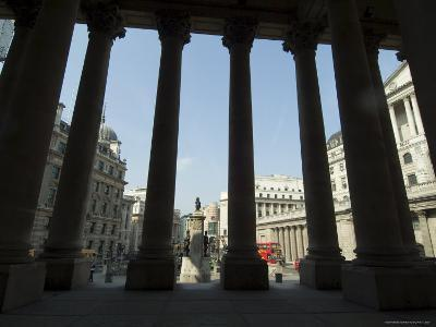 Bank of England Seen from the Steps of the Royal Exchange, City of London, London, England