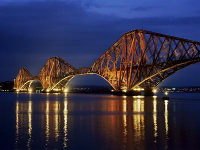 Forth Railway Bridge at Night, Queensferry, Edinburgh, Lothian, Scotland, United Kingdom