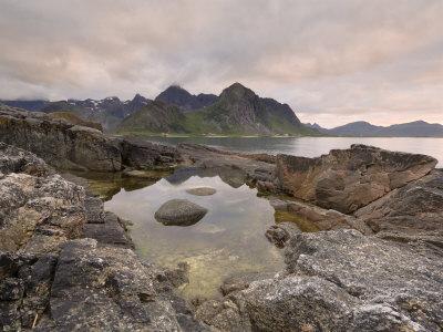 Dusk Over Flakstad, Flakstadoya, Lofoten Islands, Norway, Scandinavia