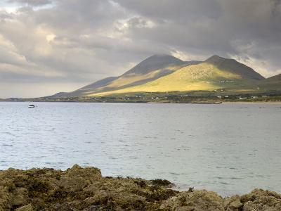 Croagh Patrick Mountain and Clew Bay, from Old Head, County Mayo, Connacht, Republic of Ireland