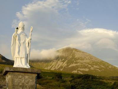 Statue of St. Patrick at the Base of Croagh Patrick Mountain, County Mayo, Connacht, Ireland