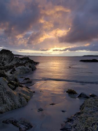 Beach at Sunset, Near Tully Cross, Connemara, County Galway, Connacht, Republic of Ireland