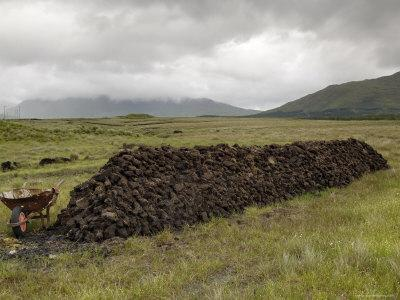 Cut Peat Stacked up for Winter, Connemara, County Galway, Connacht, Republic of Ireland