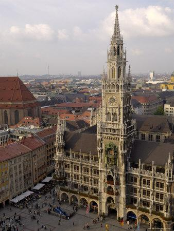 Neues Rathaus and Marienplatz, from the Tower of Peterskirche, Munich, Germany