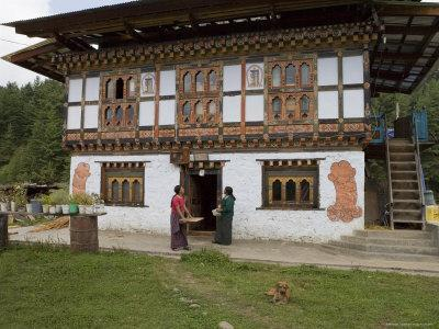 Phallus Symbols on House to Ward off Evil Spirits, Bumthang Valley, Bhutan