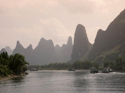 Cruise Boats on Li River Between Guilin and Yangshuo, Guilin, Guangxi Province, China