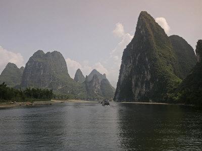 Cruise Boat on Li River Between Guilin and Yangshuo, Guilin, Guangxi Province, China