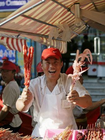 Chinese Food, Wangfujing Snack Road, Wangfujing Dajie Shopping District, Beijing, China