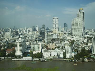 Silom District and Chao Praya River, Bangkok, Thailand