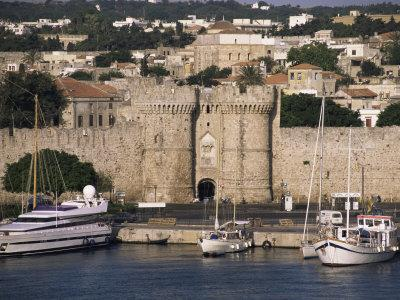 Walls of Old Town from Harbour, Rhodes, Dodecanese Islands, Greece