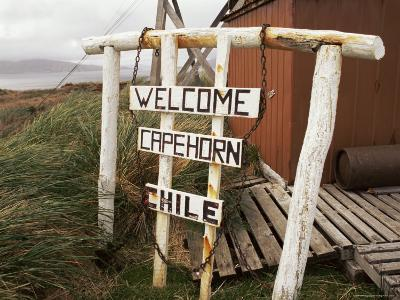 Welcome Sign, Cape Horn Island, Chile, South America