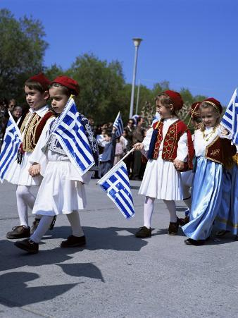 Children in National Dress Carrying Flags, Independence Day Celebrations, Greece