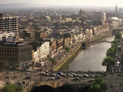 Aerial View Along the River Liffey, Dublin, Eire (Republic of Ireland)