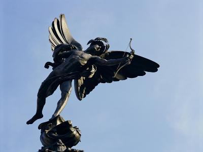 Close-Up of the Statue of Eros on the Shaftesbury Memorial, Piccadilly Circus, London, England