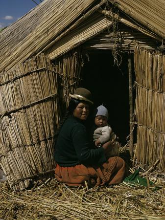 Uro Indian Woman and Baby, Lake Titicaca, Peru, South America