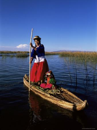 Uros Indian Woman and Traditional Reed Boat, Islas Flotantes, Lake Titicaca, Peru, South America