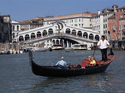 Gondola on the Grand Canal Near the Rialto Bridge, Venice, Veneto, Italy