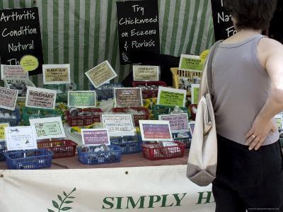 Alternative Therapy Stall, Farmers Market, Alexandra Palace, Haringey, London, England