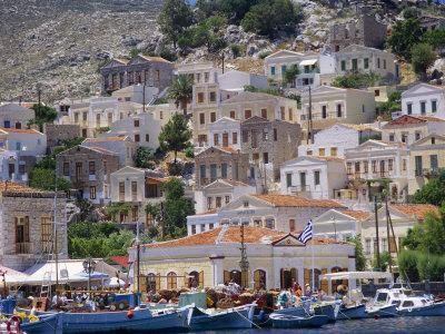 Moored Boats and Waterfront Buildings, Gialos, Symi (Simi), Dodecanese Islands, Greece
