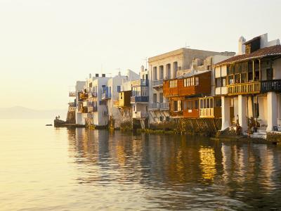 Little Venice at Sunset, Mykonos Town, Mykonos, (Mikonos), Greek Islands, Greece