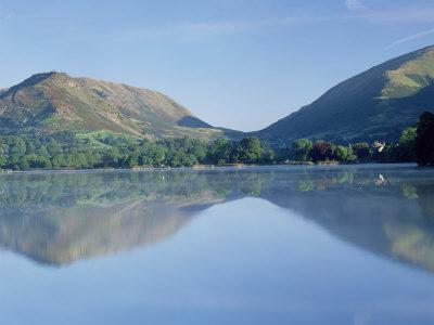 Perfect Reflection in Early Morning, Grasmere, Near Ambleside, Lake District, Cumbria, England