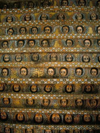 Frescoes on Ceiling of Debre Berham (Debre Birhan Selassie) Church, Gondar, Ethiopia, Africa