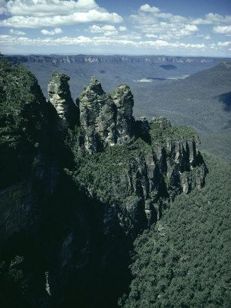 Rock Formations of the Three Sisters from Echo Point, Blue Mountains, Australia