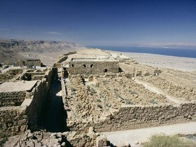 View North to Ruins of Northern Palace from Store Rooms Lookout, Masada National Park, Dead Sea