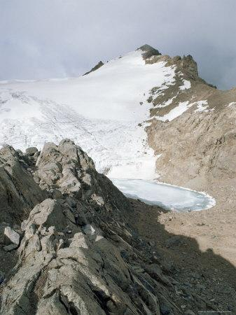 Point Lenana, 4985M, and the Curling Pond, from Top Hut, Mount Kenya, Kenya