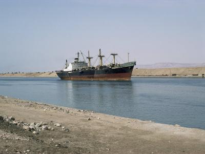 Northbound Ship, Suez Canal, Egypt, North Africa, Africa