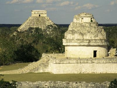 Mayan Observatory and the Great Pyramid Beyond, Chichen Itza, Unesco World Heritage Site, Mexico