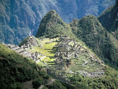 Looking Down onto the Inca City from the Inca Trail, Machu Picchu, Unesco World Heritage Site, Peru