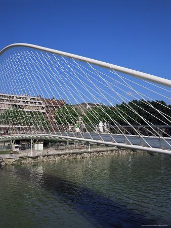 Zubizuri Curved Pedestrian Bridge Across the Bilbao River, Bilbao, Euskadi (Pais Vasco), Spain
