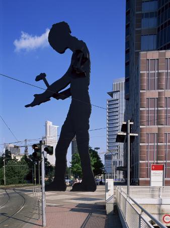 Statue of a Hammering Man, Frankfurt-Am-Main, Hesse, Germany