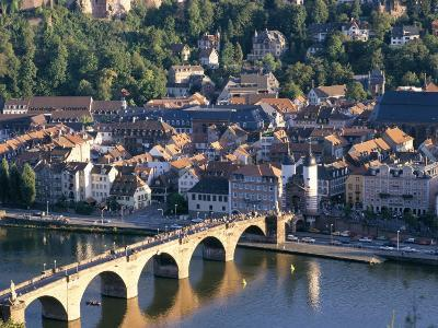 Old Town, Old Bridge and River Neckar, Heidelberg, Baden-Wurttemberg, Germany