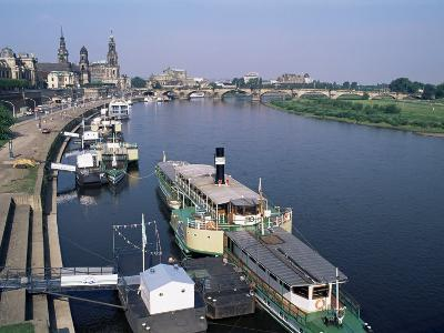 River Elbe and City Skyline, Dresden, Saxony, Germany